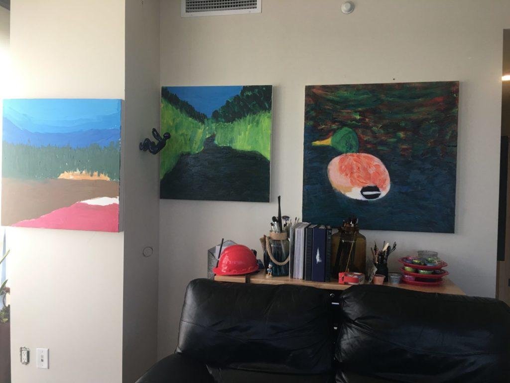 Pinetop Arizona scenes in expressionist art work in progress by Donald Ryker