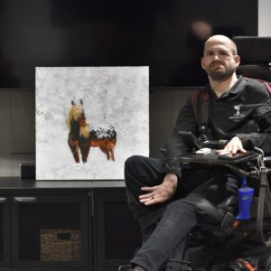 Artist Standing in Snow Fine Art Block Print with Artist Donald Ryker