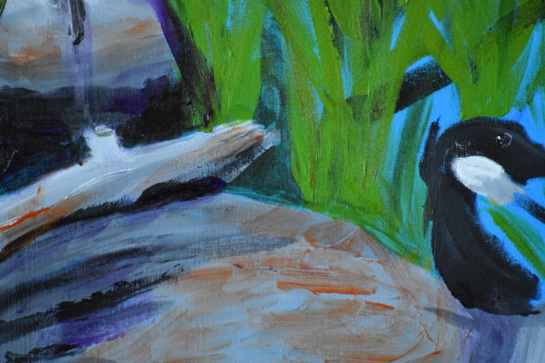 Close-up of Reeds and driftwood beside the lake provide a safe resting place for two geese. Mountain Woodland. Pinetop, AZ. Blue, green, gray. Large Painting by artist Donald Ryker in textured expressionist impressionist art style with unique impasto glaze technique.
