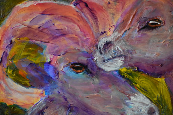 Close-up of Two big-horned rams stand close as they keep their eye on the world around them. Mountain wilderness. Golden green, lavender taupe, coral pink. Large Painting by artist Donald Ryker in textured expressionist impressionist art style with unique impasto glaze technique.