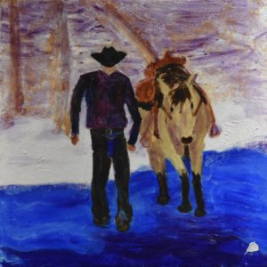 A rider crosses a river walking beside his horse. Western. Winter. Lavender, blue, neutrals, snow. Large Painting by artist Donald Ryker in expressionist impressionist style with unique impasto glaze technique.