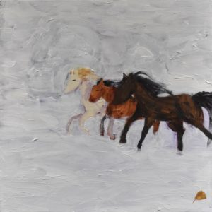 Three horses race through a snow covered field. Western. Winter. Tints of white, shades of brown. Large Painting by artist Donald Ryker in expressionist impressionist style with unique impasto glaze technique.