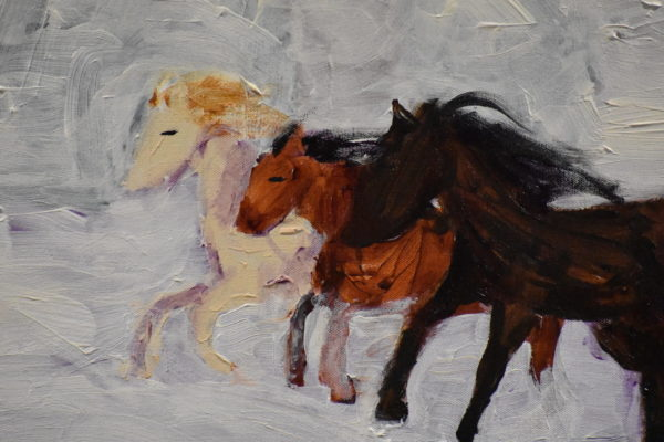 Close-up of Three horses race through a snow covered field. Western. Winter. Tints of white, shades of brown. Large Painting by artist Donald Ryker in expressionist impressionist style with unique impasto glaze technique.