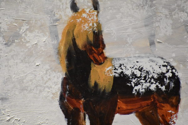 Close-up of A lone horse dusted with drifting snow stands in a field with the silent forest behind. Umber and white. Large painting by artist Donald Ryker in expressionist impressionist style with unique impasto glaze technique.