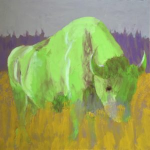 Green bison grazes on a golden plain with lavender hills in the background. Large Painting by artist Donald Ryker in textured expressionist impressionist art style with unique impasto glaze technique.