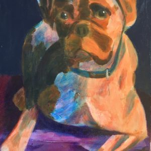 A boxer rests on a purple chair looking a little worried and ready to jump any moment. Brown, Purple. Large Painting by artist Donald Ryker in textured expressionist impressionist art style with unique impasto glaze technique.