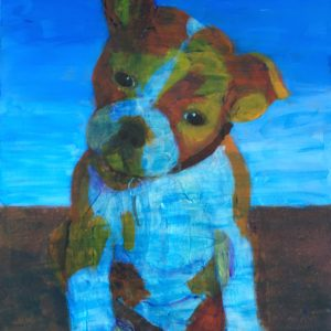 An orange bulldog puppy cocks his head in curiosity as the blue sky washes over him. Large Painting by artist Donald Ryker in textured expressionist impressionist art style with unique impasto glaze technique.