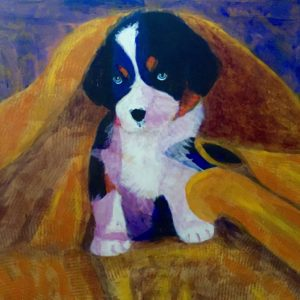 A Bernese Mountain Dog puppy is snuggled in a golden towel after his bath. Gold, Blue, White. Large Painting by artist Donald Ryker in textured expressionist impressionist art style with unique impasto glaze technique.