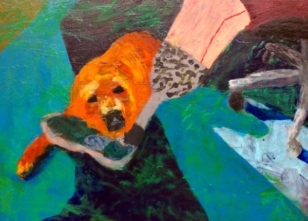 A service dog rests his head on the prosthetic foot of his owner while waiting for office work to be finished. Teal, orange, grey. Large Painting by artist Donald Ryker in textured expressionist impressionist art style with unique impasto glaze technique.
