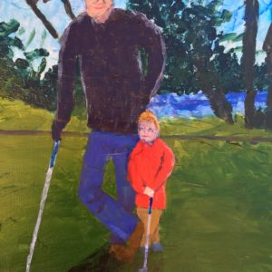 Grandfather and grandson golfing at Penn Valley. Mountain. Green, red, blue, purple. Large Painting by artist Donald Ryker in textured expressionist impressionist art style with unique impasto glaze technique.