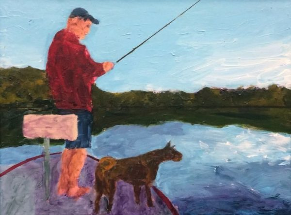 A fisherman and his dog on the bow of a boat on a sunny day with the reflection of the mountains and clear blue sky on the lake water. Mountain. Blue, green, red, purple. Large Painting by artist Donald Ryker in textured expressionist impressionist art style with unique impasto glaze technique.