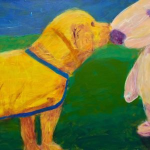 A future service dog puppy with his first training vest meets Snoopy! Blue, green, yellow, purple. Large Painting by artist Donald Ryker in textured expressionist impressionist art style with unique impasto glaze technique.