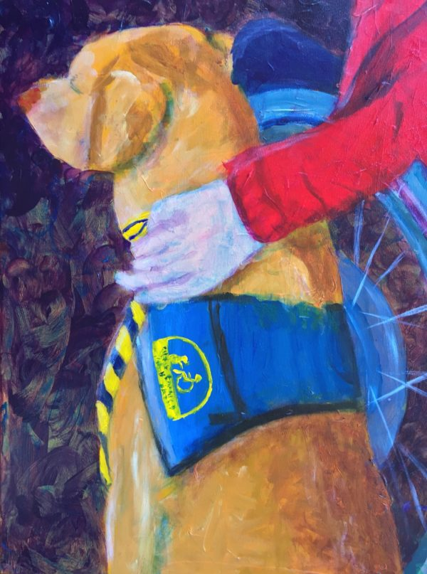 A person in a manual wheelchair rests her hand on her golden service dog. Gold, Blue, Purple, Red. Large Painting by artist Donald Ryker in textured expressionist impressionist art style with unique impasto glaze technique.