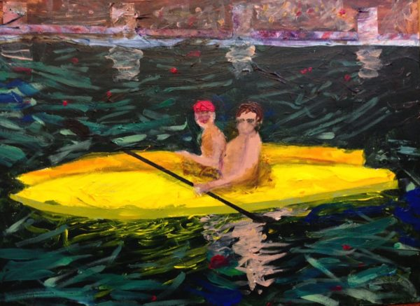 Two kayakers at Penn Valley Lake with brick pathway in the background. Mountain Forest. Hunter green, yellow. Large Painting by artist Donald Ryker in textured expressionist impressionist art style with unique impasto glaze technique.