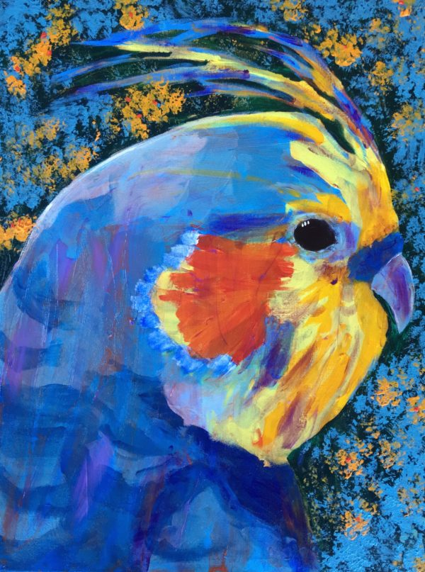 Profile of a bright blue and yellow cockatiel agains flowering foliage. Jungle. Tropical. Blue, Orange, Yellow, Green. Large Painting by artist Donald Ryker in textured expressionist impressionist art style with unique impasto glaze technique.