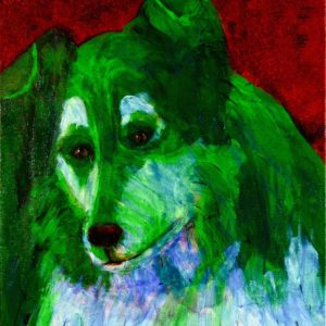 A jewel-tone green collie looks gently into the distance with a ruby red background. Red, Green. Large Painting by artist Donald Ryker in textured expressionist impressionist art style with unique impasto glaze technique.