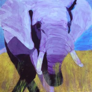 A majestic elephant moves across golden plains. Desert Savanah. Tints of purple and gold. Large Painting by artist Donald Ryker in textured expressionist impressionist art style with unique impasto glaze technique.