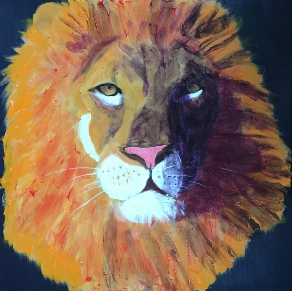 A lion is lit by sunlight on one side of his face with the other side shadowed. Jungle. Orange, Purple, White, Black. Large Painting by artist Donald Ryker in textured expressionist impressionist art style with unique impasto glaze technique.
