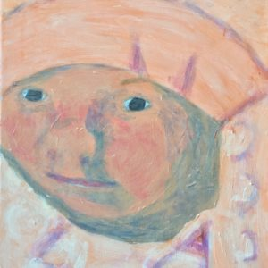 A baby is snuggled in a fluffy blanket of pastel tones. Peach, lavender, rose. Large Painting by artist Donald Ryker in textured expressionist impressionist art style with unique impasto glaze technique.