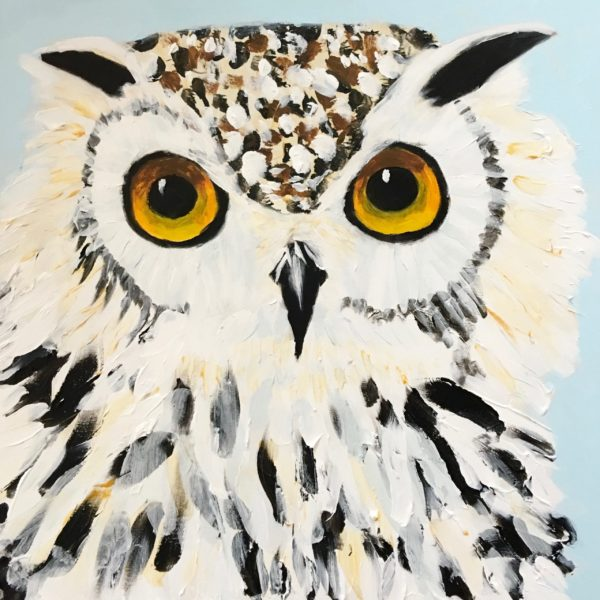 Snowy white owl with luminous eyes gazes at the viewer. Large Painting by artist Donald Ryker in textured expressionist impressionist art style with unique impasto glaze technique.