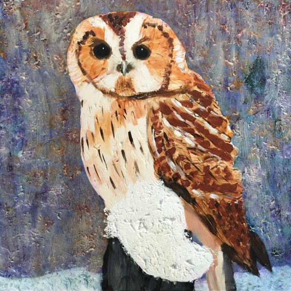 A brown owl sits on a snow topped fence post on a misty winter morning. Mountain. Brown, Gray, Blue. Large Painting by artist Donald Ryker in textured expressionist impressionist art style with unique impasto glaze technique.