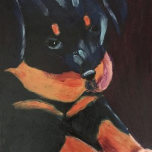 A young Rottweiler puppy stretches out his paws. Orange, Purple, Black. Large Painting by artist Donald Ryker in textured expressionist impressionist art style with unique impasto glaze technique.