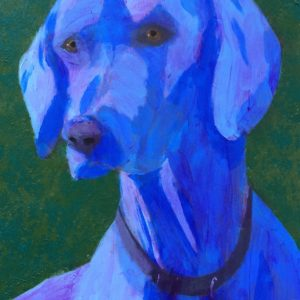 An alert blue Weimaraner dog looking intently to the side. Blue, green. Large Painting by artist Donald Ryker in textured expressionist impressionist art style with unique impasto glaze technique.