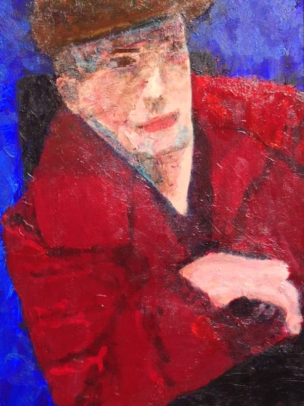 Donald Ryker's self portrait - sitting in his electric wheelchair with a red jacket and cap. Red, Blue. Large Painting by artist Donald Ryker in textured expressionist impressionist art style with unique impasto glaze technique.