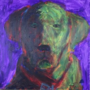 Sunlight and shadow define the serious and intent gaze of this black lab. Purple, Red, Yellow. Large Painting by artist Donald Ryker in textured expressionist impressionist art style with unique impasto glaze technique.