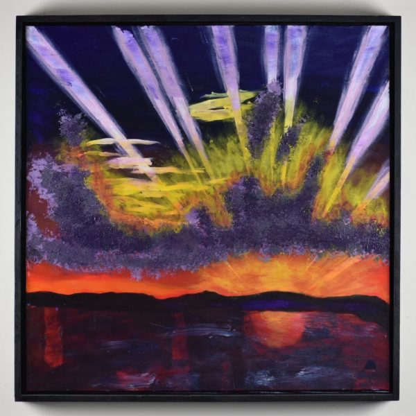 Framed View of A rising sun creates streaks of sunlight through purple clouds and sky as the rising sun reflects across the water. Purple, Orange, Yellow, White. Large Painting by artist Donald Ryker in textured expressionist impressionist art style with unique impasto glaze technique.