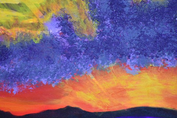 Close-up of A rising sun creates streaks of sunlight through purple clouds and sky as the rising sun reflects across the water. Purple, Orange, Yellow, White. Large Painting by artist Donald Ryker in textured expressionist impressionist art style with unique impasto glaze technique.