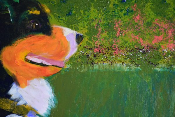 Close-up of A Bernese mountain dog puppy and adult sit on a grassy lawn with impressionist coral flowers in the background. Blue, Orange, White, Green, Yellow. Large Painting by artist Donald Ryker in textured expressionist impressionist art style with unique impasto glaze technique.