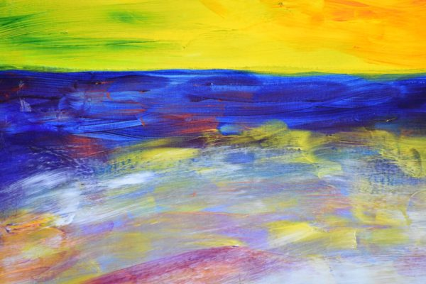 Close-up of A Glowing gold shoreline and sunset with deep blue ocean and sky. Yellow, Blue. Large Painting by artist Donald Ryker in textured expressionist impressionist art style with unique impasto glaze technique.