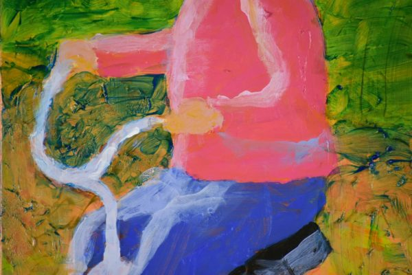 Close-up of A small child dressed in pink and blue pedals a red tricycle down a pathway. Pink, Blue, Green, Orange. Large Painting by artist Donald Ryker in textured expressionist impressionist art style with unique impasto glaze technique.