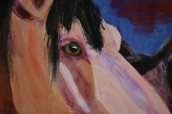 Close-up of A horse bending it's head around a smaller horse who is standing close. Shades of brown with a blue background. Western. Orange, Purple, Brown, Black. Large Painting by artist Donald Ryker in textured expressionist impressionist art style with unique impasto glaze technique.