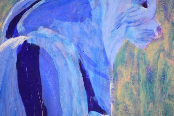 Close-up of A bobcat in shades of blue looks over a mountain canyon. Mountain. Blue, teal. Large Painting by artist Donald Ryker in textured expressionist impressionist art style with unique impasto glaze technique.