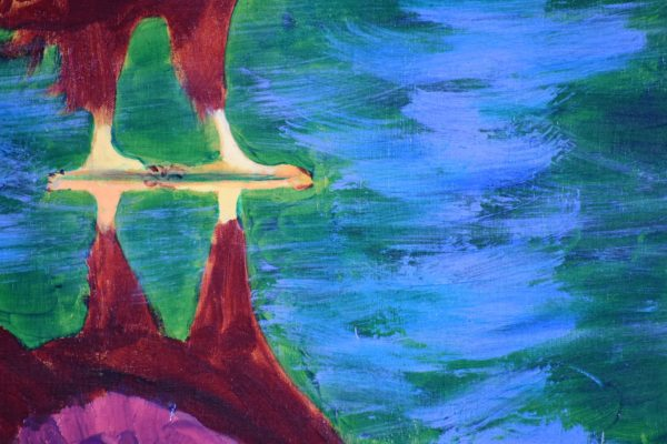 Close-up of A red-toned bald eagle stands looking at his own reflection in the shallow waters. Mountain. Red, Green, Blue, White. Large Painting by artist Donald Ryker in textured expressionist impressionist art style with unique impasto glaze technique.