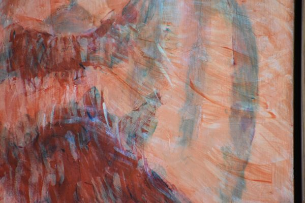 Close-up of An alaskan bear with massive shoulders and neck walks on the shoreline. Mountain. Orange, Green. Large Painting by artist Donald Ryker in textured expressionist impressionist art style with unique impasto glaze technique.