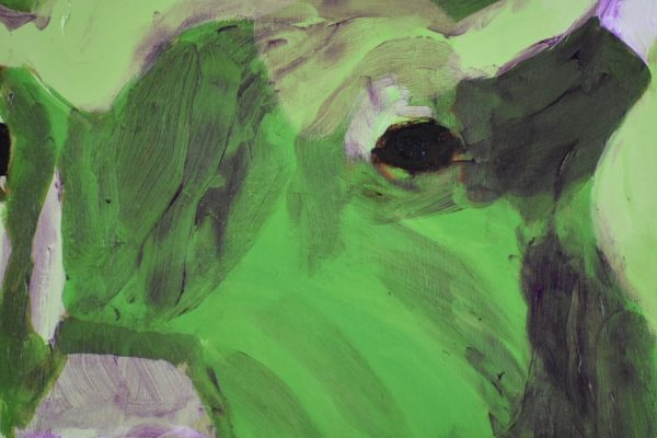 Close-up of A green buffalo with curved horns lifts his head alertly. Terra cotta background. Large Painting by artist Donald Ryker in textured expressionist impressionist art style with unique impasto glaze technique.
