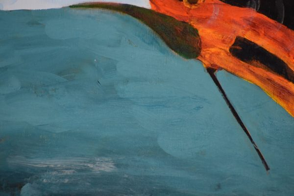 Close up of A glowing swordfish leaping out of the ocean. Large Painting by artist Donald Ryker in textured expressionist impressionist art style with unique impasto glaze technique.