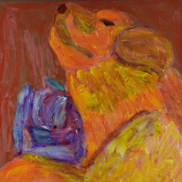 Yellow Lab naps with a tiny kitten cuddled next to her neck. Yellow, Orange, Red, Purple. Large Painting by artist Donald Ryker in textured expressionist impressionist art style with unique impasto glaze technique.