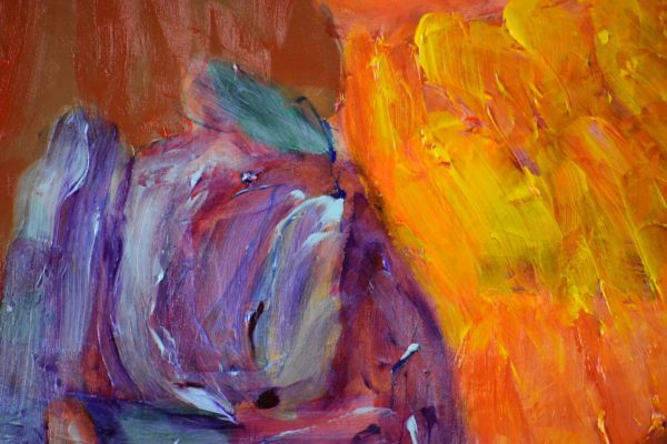 Close-up of Yellow Lab naps with a tiny kitten cuddled next to her neck. Yellow, Orange, Red, Purple. Large Painting by artist Donald Ryker in textured expressionist impressionist art style with unique impasto glaze technique.