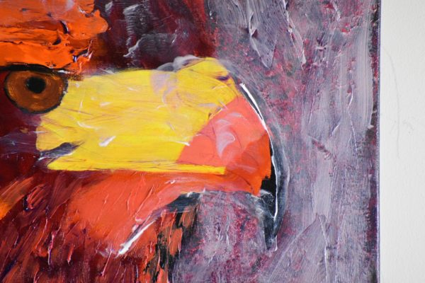 Close-up of A stern looking orange toned Hawk in profile with mists swirling about. Mountain. Orange, red, yellow. Large Painting by artist Donald Ryker in textured expressionist impressionist art style with unique impasto glaze technique.