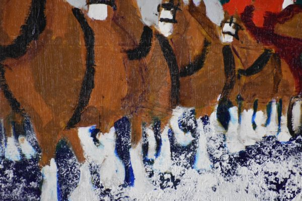 Close-up of A team of Clydesdale horses are pulling the Christmas Tree home from the snowy mountains. Mountains. Brown, Navy, Gray, White. Large Painting by artist Donald Ryker in textured expressionist impressionist art style with unique impasto glaze technique.