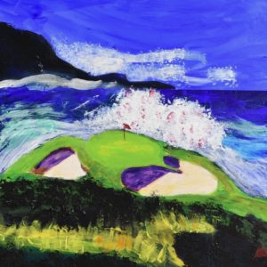Groomed golf greens are surrounded by crashing waves, clear blue skies and natural rocky shorelines. Ocean. Blue, green, purple. Large Painting by artist Donald Ryker in textured expressionist impressionist art style with unique impasto glaze technique.