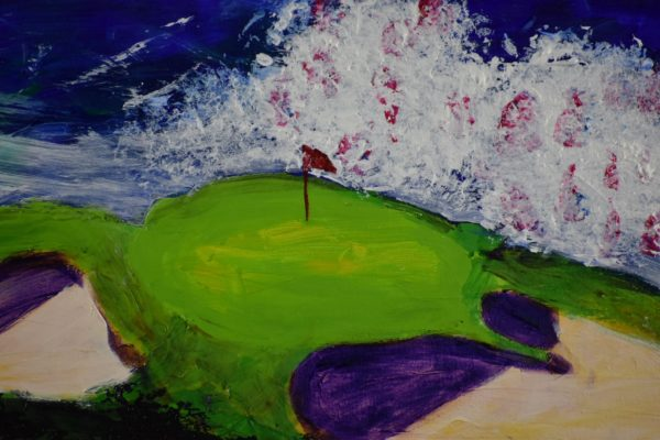 Close-up of Groomed golf greens are surrounded by crashing waves, clear blue skies and natural rocky shorelines. Ocean. Blue, green, purple. Large Painting by artist Donald Ryker in textured expressionist impressionist art style with unique impasto glaze technique.