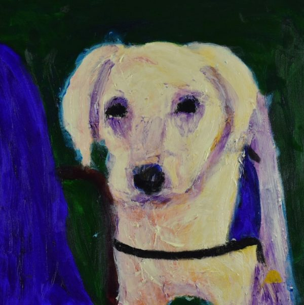 A labrador retriever service dog stands beside the jean covered leg of his person. Green, Blue, Yellow, lavender, cream. Large Painting by artist Donald Ryker in textured expressionist impressionist art style with unique impasto glaze technique.