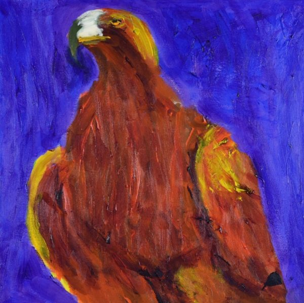 A large bird of prey standing and looking to the horizon. Purple, Orange, Yellow, Brown, Red. Mountain. Large Painting by artist Donald Ryker in textured expressionist impressionist art style with unique impasto glaze technique.