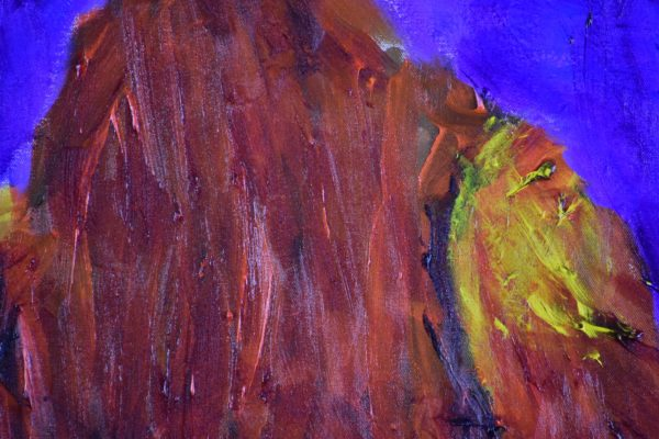 Close-up of A large bird of prey standing and looking to the horizon. Purple, Orange, Yellow, Brown, Red. Mountain. Large Painting by artist Donald Ryker in textured expressionist impressionist art style with unique impasto glaze technique.