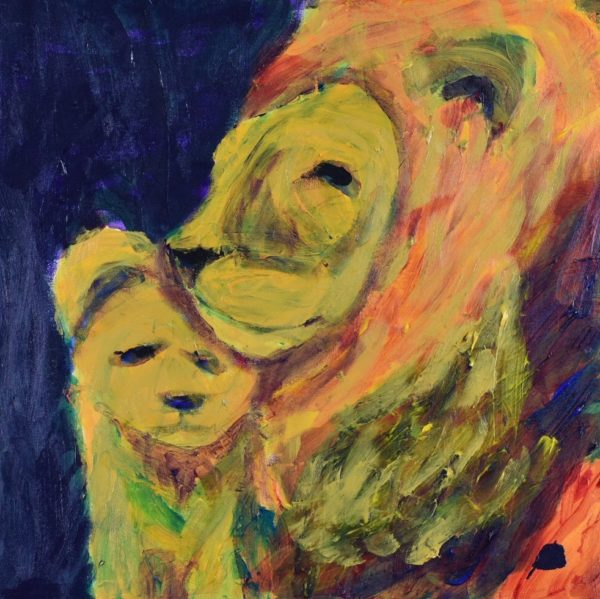 A worried cub huddles against his unconcerned father. Yellow, Orange, Navy. Large Painting by artist Donald Ryker in textured expressionist impressionist art style with unique impasto glaze technique.